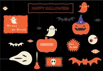 Stylish Halloween icon set