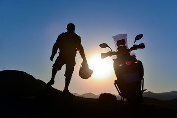 motorbike and mountain peaks, journey adventure and peace