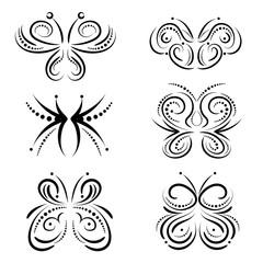 Stylized swirl butterflies set