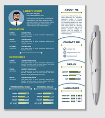 Resume, CV Template with nice minimalist design and Realistic Pen. Vector illustration