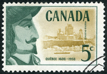 CANADA - 1958: shows Samuel de Champlain (1574-1635) and view of Quebec Founding of Quebec