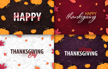 Set of Autumn Backgrounds with Pumpkin. Thanksgiving day. For shopping sale, promo poster and frame leaflet, web banner. Vector illustration template.