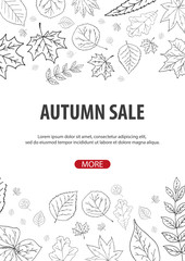Autumn Background with leaves. For shopping sale, promo poster and frame leaflet, web banner. Vector illustration template.