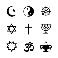 Icons denoting different religious symbols