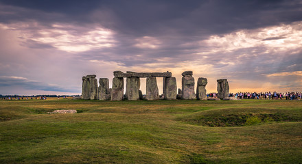 Stonehenge - August 07, 2018: Ancient monument of Stonehenge, England