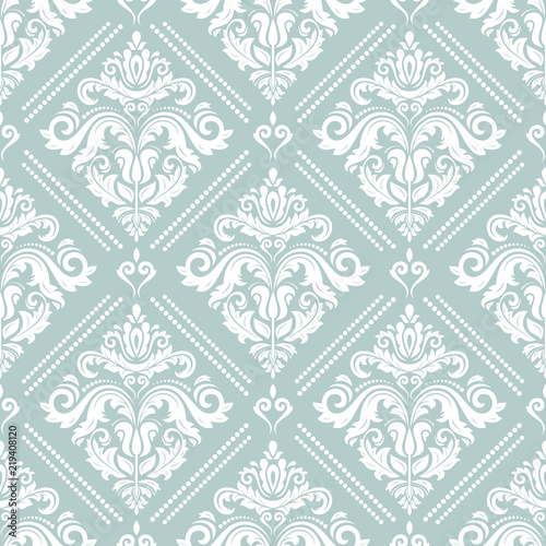 Orient Classic Light Blue And White Pattern Seamless Abstract Background With Repeating Elements