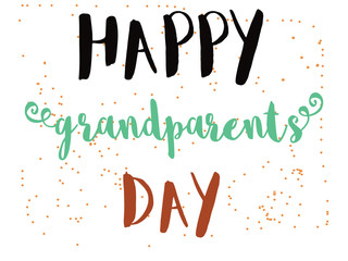happy grandparents day hand lettering greeting illustration.