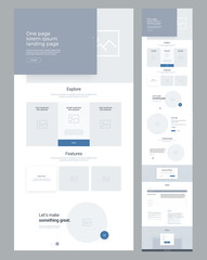 One page website design template for business. Landing page wireframe. Flat modern responsive design. Ux ui website: home, explore, features, slides, ecommers, price, product, testimonials, special of