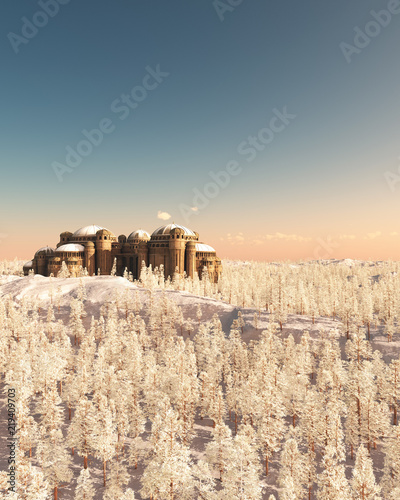 """Fantasy Citadel in Snowy Winter Sunrise - illustration"" Stock photo and royalty-free images on Fotolia.com - Pic 219409703"