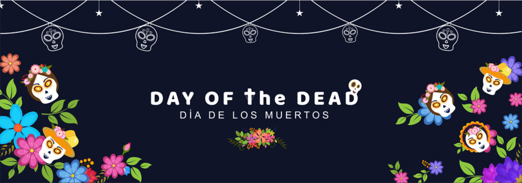 Mexican festival Day Of The Dead header or banner design decorated with colorful flower and sugar skulls for celebration concept.