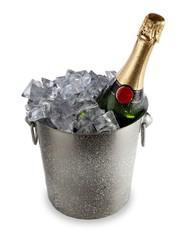 Champagne bottle in an ice bucket