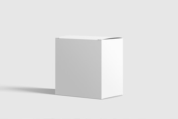 Photorealistic Long Square Cardboard Package Box Mockup on light grey background. 3D illustration. Mockup template ready for your design.