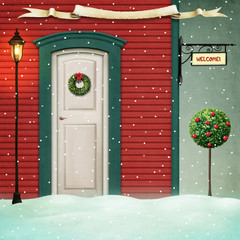 Background for Christmas or New Year greeting card with red house and decorated door. Computer graphics.