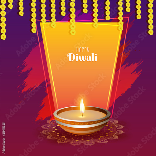 Happy diwali greeting card design with illustration of illuminated happy diwali greeting card design with illustration of illuminated oil lamp diya on shiny m4hsunfo