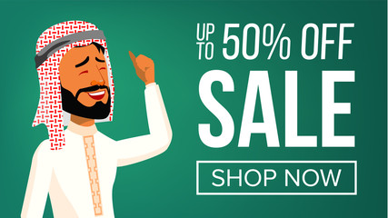 Arab Man Banner Vector. Middle Eastern People. Young Saudi Arabic. For Presentation, Invitation, Card Design. Illustration