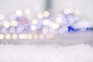 winter background with lights and snow