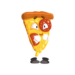 Cute smiling slice of pizza, funny cartoon fast food character vector Illustration on a white background