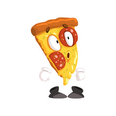 Cute surprised slice of pizza, funny cartoon fast food character vector Illustration on a white background