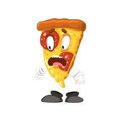 Frightened slice of pizza, funny cartoon fast food character vector Illustration on a white background