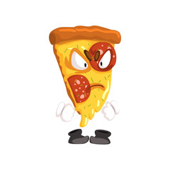 Angry slice of pizza, funny cartoon fast food character vector Illustration on a white background