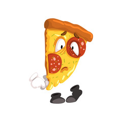 Sad slice of pizza, funny cartoon fast food character vector Illustration on a white background