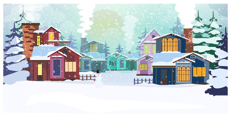 Country scene with cottages and fir-trees vector illustration
