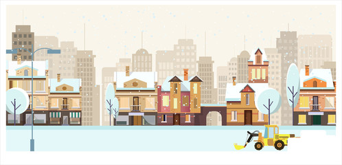 Winter cityscape with buildings, trees and snowplow