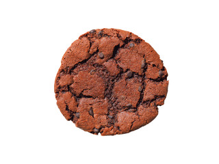 Foto op Aluminium Koekjes Chocolate cookie with chocolate isolated on white background. Sweet biscuits. Fresh baked chocolate chip cookie with crumbs