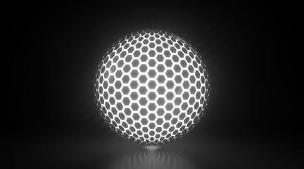 Glowing Honeycomb Light Sphere - 3D Illustration