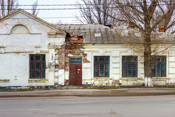 Abandoned old store building, created in Soviet Union times. Russia