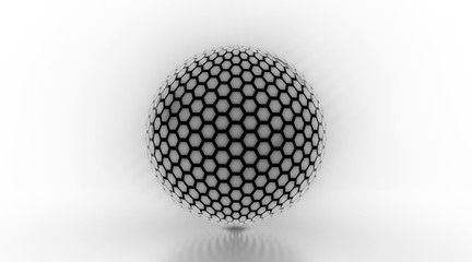 Glowing Honeycomb Light Sphere - 3D Illustration