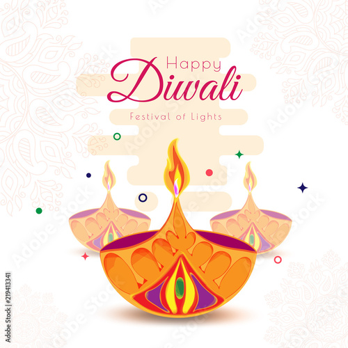 Happy diwali greeting card design with paper cut oil lamps on happy diwali greeting card design with paper cut oil lamps on abstract floral background for celebration m4hsunfo