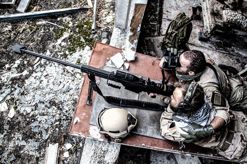 United States Navy SEAL Sniper Team Firing With Large Caliber Anti
