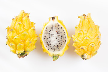 Yellow pitahaya or dragon fruit on white background - Selenicereus megalanthus