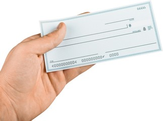 Hand Holding Blank Check - Isolated