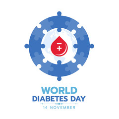World diabetes day banner with red drop blood in blue circle jigsaw sign vector design