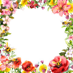 Honey bees in wild flowers, field herbs. Floral card, frame. Watercolor