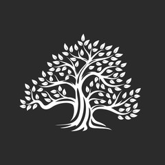 Organic natural and healthy olive tree silhouette logo isolated on dark background.