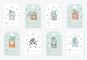 Vector collection of tags with cute objects in pastel colors