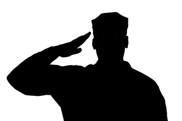 Shoulder silhouette of saluting army soldier in utility cover or cap isolated on white background. Troops hand salute ceremonial greeting, showing respect in army, military funeral honors concept