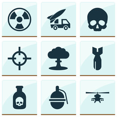 Combat icons set with grenade, skull, poison and other atom