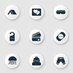 Travel icons set with vr spectacles, shorts, the sign is closed and other tepee