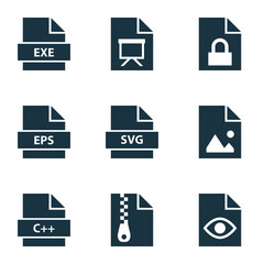 File icons set with archive, programming language, locked and other eps  elements. Isolated vector illustration file icons.