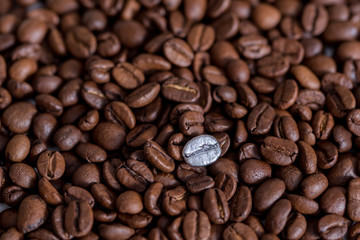 Individuality, standing out from a crowd concept, close up of a single bright, gold coffee bean over many dark ones with copy space