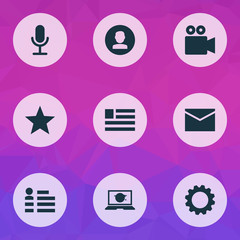 Internet icons set with setting, favorite, social page and other picture  elements. Isolated vector illustration internet icons.