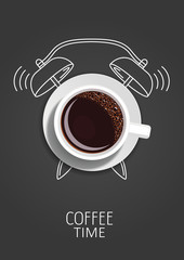 Coffee time. Realistic coffee cup and painted alarm clock. Concept. Vector illustration
