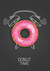 Donut time. Realistic pink donut and painted alarm clock. Concept. Vector illustration
