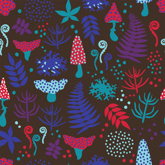 Decorative seamless pattern with mushrooms, ferns, leaves and moss on black background. Magic forest pattern. Vector illustration