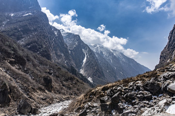 Mountain view in Annapurna region with hikers, Nepal