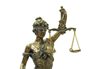 Themis or Lady Justice (Symbol of Justice) isolated on white background